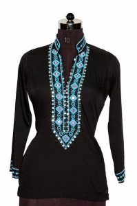 Chinese Collar Embroidered Ladies Top