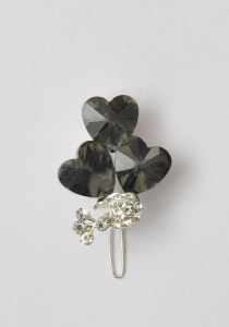 Silver Hair Slide With Heart Shape Stones
