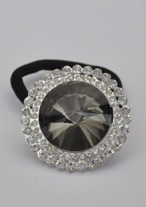 Designer Ponytail Holder With Rhinestone & Crystal Stone