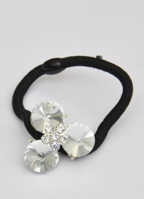 Hair Ponytail Holder With Large Stones