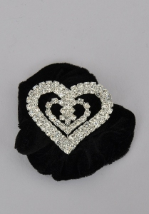 Heart Shape Diamante Ponytail Holder