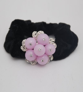 Bridal Flower Velvet Hair Band with Crystal Stone