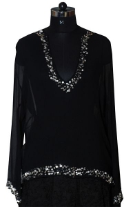 Georgette Long Top With Sequins.