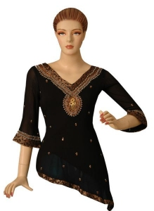 Beaded Sequins Top With Brocade Border.