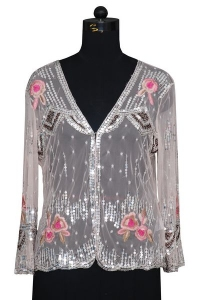 Embroidered Sequins Full Sleeves Net Top.