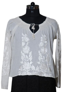 Georgette Embroidered Top With Tassels.