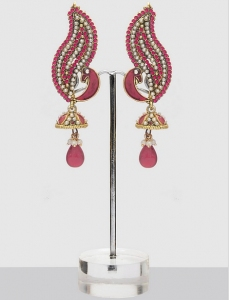 Pink Peacock Jhumka Earrings