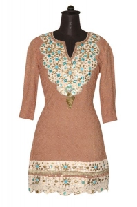 Cotton Chicken Tunic With Crotchet Laces, Metal,Squins