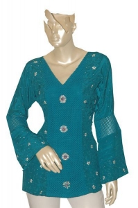 Kurti With Hand Work And Hand Woven Crotchet.
