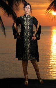 Cotton Silk Jacket Style Embroidered Churidar Suit