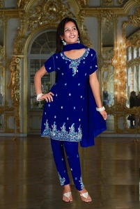 Embroidered Churidar Kameez With Sequins & Stone