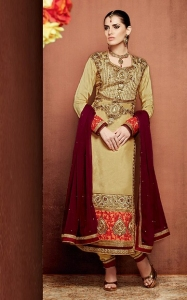 Beige Churidar Suit with Embroidery