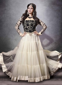 Black & White Anarkali Churidar Suit