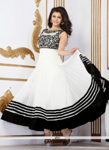 Black & White Net Anarkali Suit