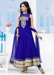 Blue Anarkali Churidar Suit