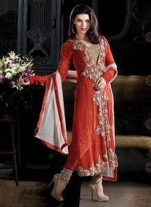 Embroidered Flair Churidar Suit