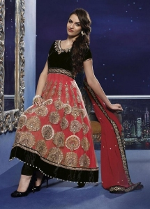 Pink & Black Party Anarkali Suit