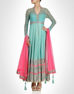 Aqua Blue & Pink Anarkali In Net