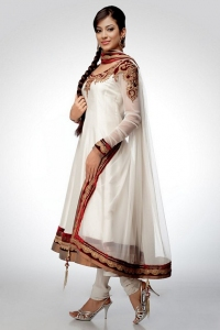 White Net Anarkali With Velvet Patch Work