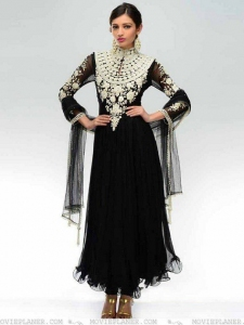 Black Anarkali With Pearl Embroidery