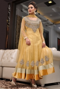 Light Golden Net Anarkali Kameez With Hand Embroidery