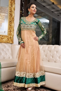 Green & Light Fawn Anarkali Dress In Net & Velvet