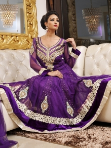 Purple Net Anarkali Suit Heavily Embroidered