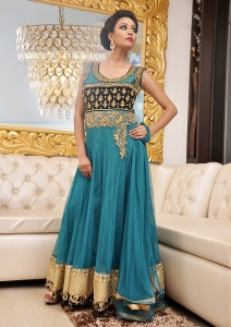 Bluish Green Net Anarkali Suit With Hand Embroidery