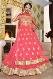 Floor Length Anarkali In Pink Net
