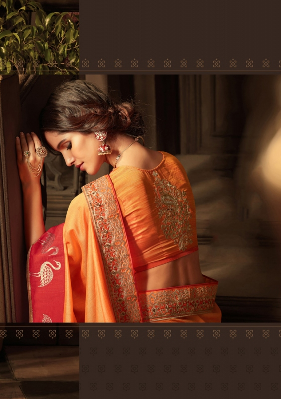 Orange Silk Embroidered Blouse Saree - Click Image to Close