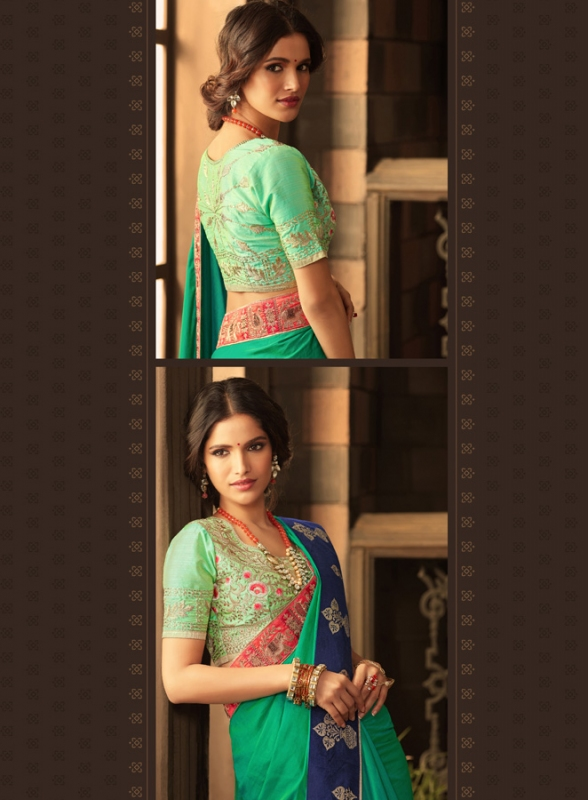 Green Embroidered Blouse Saree - Click Image to Close