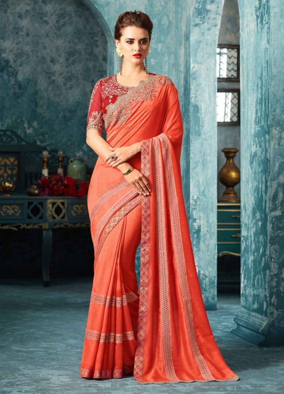Peach Silk Zari & Thread Work Saree - Click Image to Close