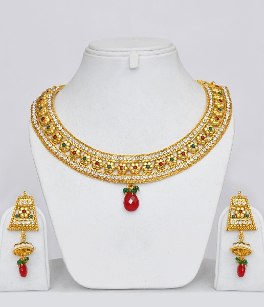 Gold Plated Polki Designer Jewelry Set