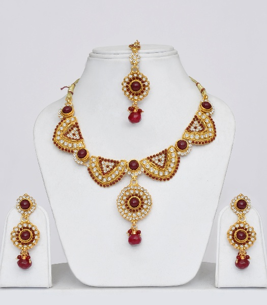 Jewellery India Online Shop Indian Gold Plated Necklace Sets: Gold