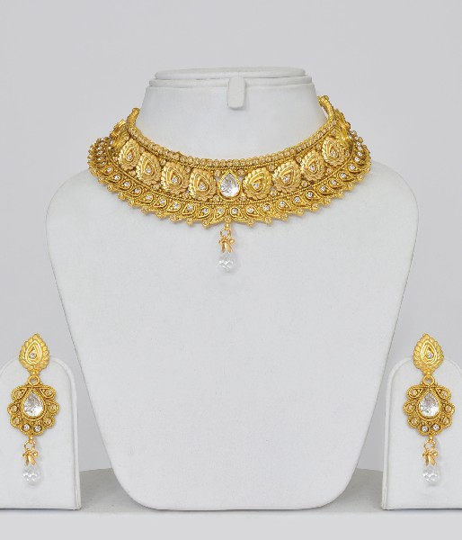 Jewellery India Online Shop Indian Gold Plated Necklace Sets: Gold Plated Polki Choker Jewelry Set : Online Shopping