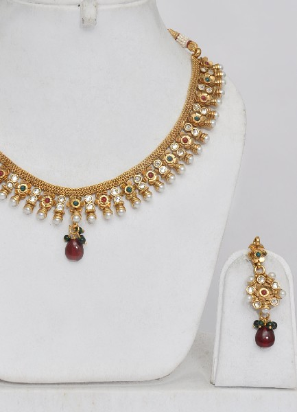 Gold Plated Indian Polki Jewellery Designs Online Shopping