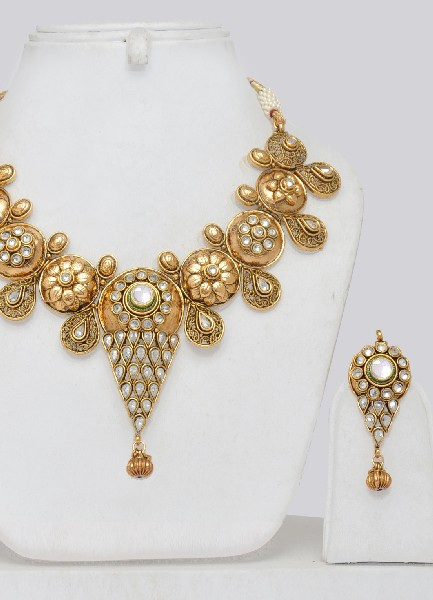 Gold Plated Polki Jewelry India - Click Image to Close