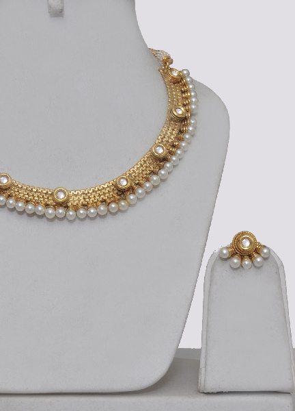 Gold Plated Polki Necklace Set With Pearls - Click Image to Close