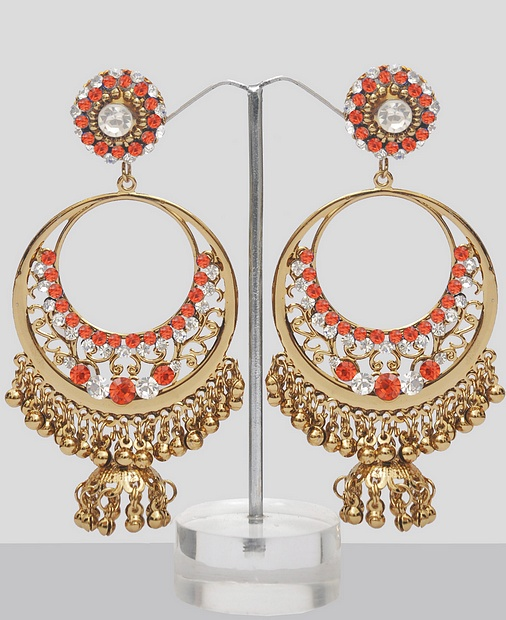 Orange Stones Studded Chand Bali Online Online Shopping