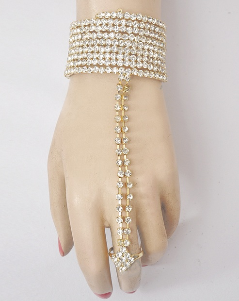 American Diamond Studded Finger Ring Bracelet