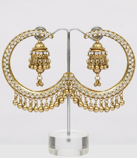 Beautiful and very stylish looking golden color jhumka earrings online
