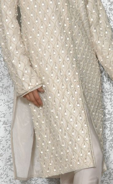 Pure Raw Silk Designer Jacket Embellished With Japanese Pearl. - Click Image to Close