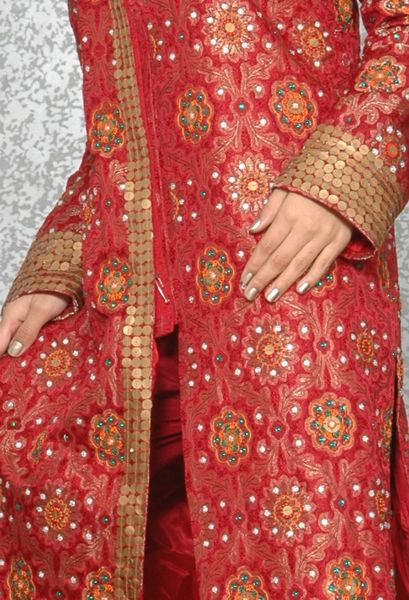 Banarsi Silk Woven Jacket With Thread French Knot And Gold Coin - Click Image to Close