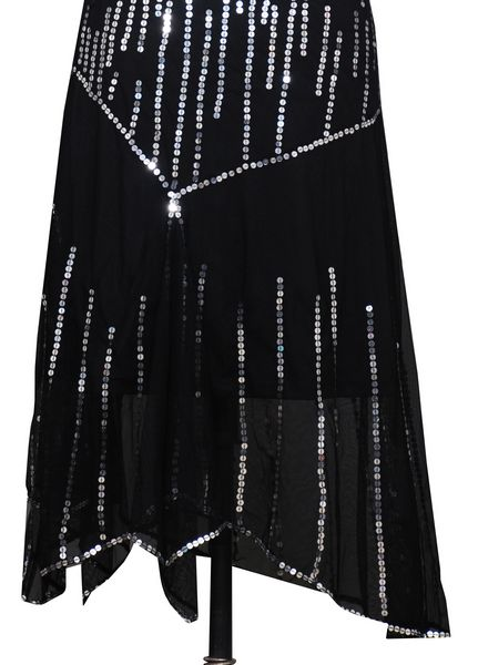 Black Sequins Long Evening Dress With Stylish Cuts. - Click Image to Close