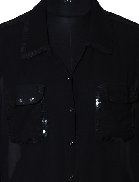 Georgette Collar Shirt With Sequins. - Click Image to Close