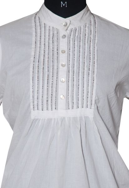 Chinese Collar Cotton Top With Beads. - Click Image to Close