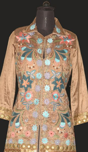 Formal Satin Jacket Embroidered With Thread & Metal Coin. - Click Image to Close