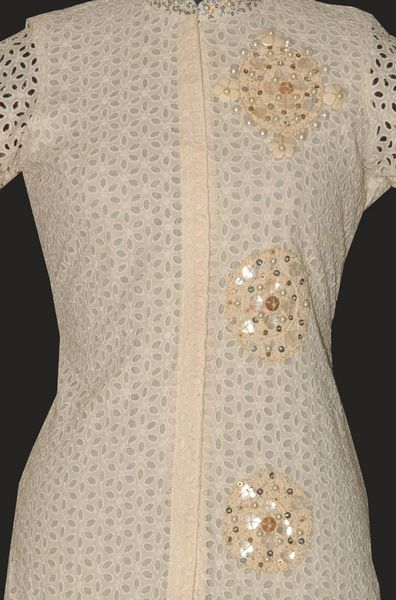 Chinese Collar Cotton Chicken Tunic With Metal, Sequins, Pearls. - Click Image to Close