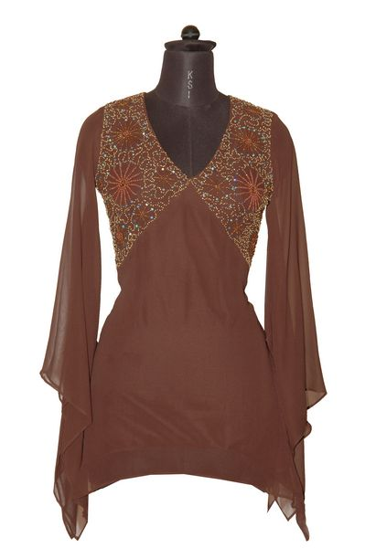 Trendy Georgette Kurti With Embroidery Of Beads Sequins Online