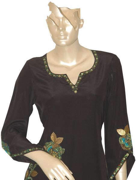 Black Kurti With Embroidery Of Metal And Threads. - Click Image to Close